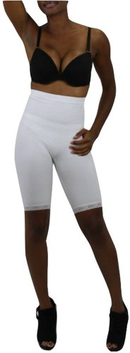 ToBeInStyle Women's High Waisted Body Shaper Shorts - Small - White