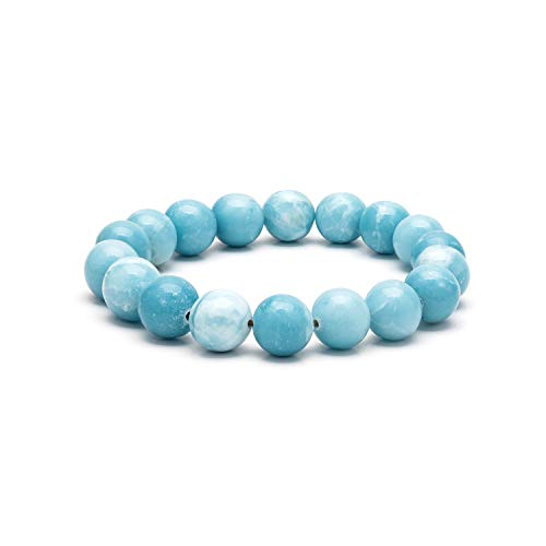 eletout Handmade 10mm Round Natural Semi PreciousGemstone Beaded Stretch Solid Color Bracelets (Ocean Jasper) from eletout