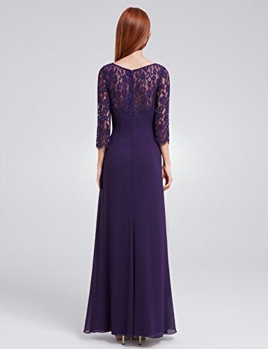 Ever Pretty de la mujer elegante encaje Top largo vestido de fiesta de noche 08861 Morado Oscuro