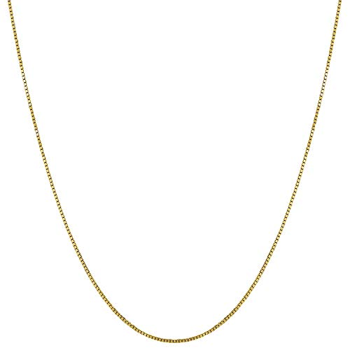 Verona Jewelers 14K Solid Yellow Gold Unisex .5mm Square Box Chain Necklace- 16
