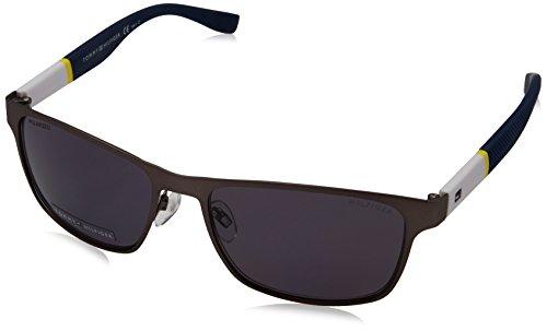 Tommy Hilfiger 1283 FO5 Matte Gunmetal Yellow White 1283S Wayfarer Sunglasses - Tommy Hilfiger Wayfarer Sunglasses