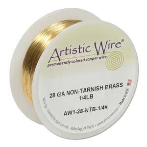 Artistic Wire 28-Gauge Non-Tarnish Brass Wire, 1/4-Pound