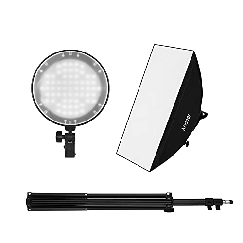 Studio Photography Softbox LED Light Kit Including 20 * 28 Inches Softboxes 45W Bi-Color Temperature 2700K/5500K Dimmable LED Lights 2 Meters Light Stands Carry Bag
