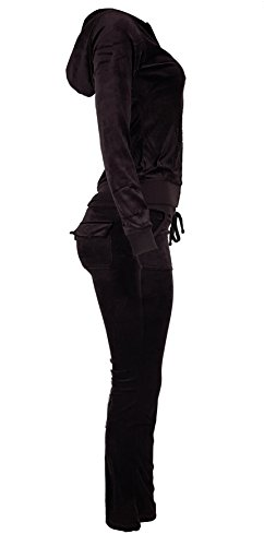Women's Lightweight Hoodie & Sweatpants Velour Suit 2 Piece Loungewear Set (S-3XL) X-Large Brown