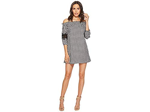 (Romeo & Juliet Couture Women's Gingham Off The Shoulder Lace Dress Black/White Medium)