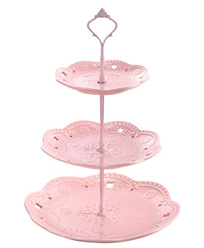 (Sumerflos 3 Tier Porcelain Cupcake Stand, Tiered Serving Cake Stand, Elegant Pink Dessert Pastry Stand, Weddings Parties Serving Tray)