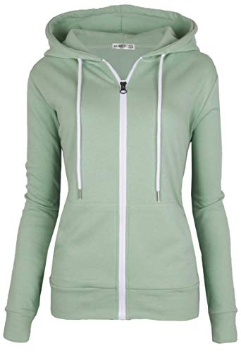 MAJECLO Women's Casual Full-Zip Hooded Lightweight Long Sleeve Sweatshirt(XXLarge, Mint) ()