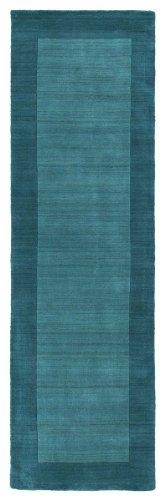 Handmade Rug, Turquoise Solid Wool Border Rug Transitional Modern Living Room Dining Room Carpet, Oblong 2×9 [2′ 6 X 8′ 9 Runner]