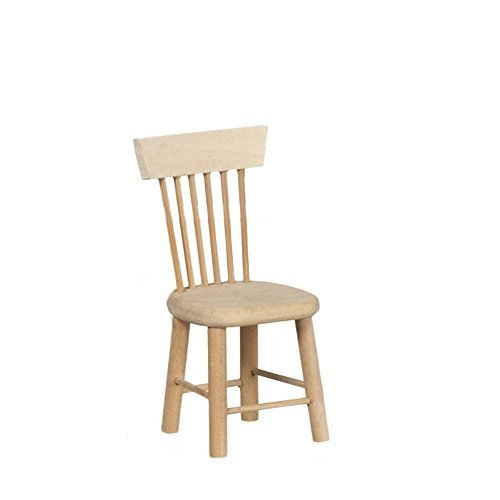 Melody Jane Dollhouse Side Chair Unfinished Bare Wood Miniature Dining Room Furniture ()