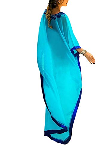 FaroDor Women's Casual V Neck Loose Caftan Long Dress Short Sleeve Split Maxi Dresses ()