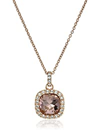 Platinum Plated Sterling Silver made with Swarovski Elements Square Pendant Necklace