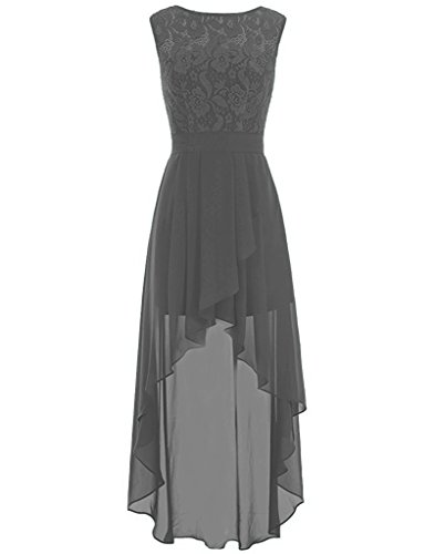 VaniaDress Women Sleeveless Lace Hilo Prom Dress Evening Gown V085LF Dark Grey US2