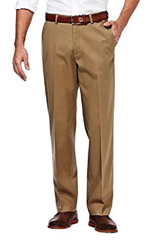 Haggar Men's Premium No Iron Classic Fit Expandable Waist Flat Front Pant, Khaki, 32Wx30L