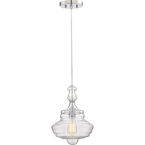 Pendant Bowl Large Glass (Quoizel QF2047C 1-Light Quoizel Fixture Pendant in Polished Chrome)