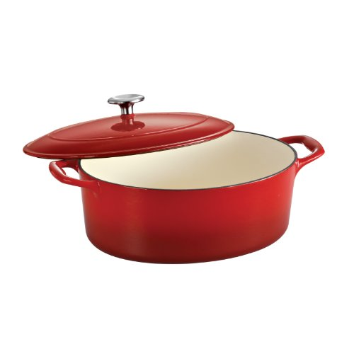 (Tramontina 80131/052DS Enameled Cast Iron Covered Oval Dutch Oven, 7-Quart, Gradated Red)