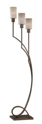 Lite Source LSF-82148 Saeran 3-Light Floor Lamp, Antique Bronze, Light Amber Glass Shade by HI-Lite Source