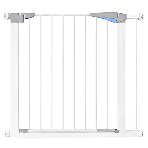 31.8″ Auto Close Safety Baby Gate, Extra Wide Walk Thru Dog Gate with Pressure or Hardware Mount for Stairs, Doorways and Hallways, Includes 2.7″ Extension Kits, White