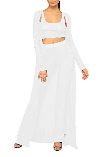 VamJump Women Maxi Cardigan Crop Tank Top Wide Leg Pants 3 Piece Set White S