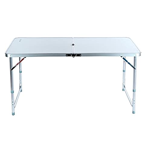 Aluminum Folding Table 4'Portable Outdoor Picnic Camping Table Party Useful (6 Stainless Steel Trash Ring)