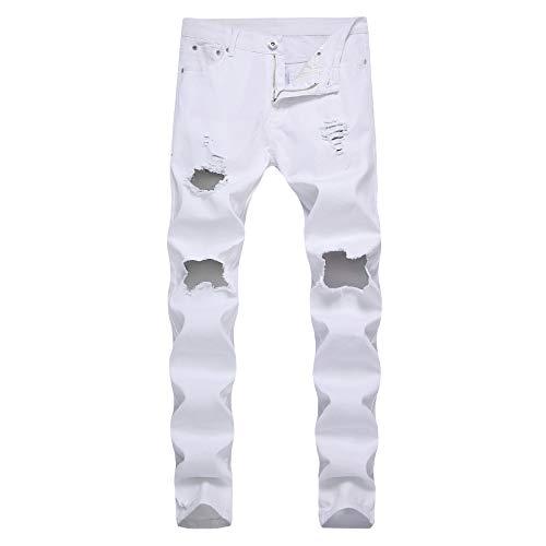 LONGBIDA Men's Ripped Skinny Destroyed Holes Jeans Low Waist Slim Fit Stretch Denim Pencil - Skinny Jeans Stretch Low
