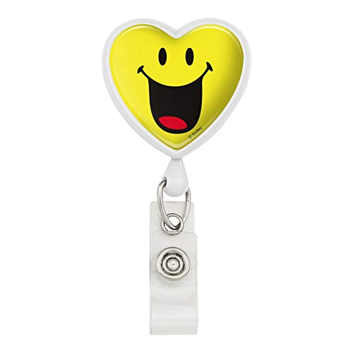 (Smiley Smile Happy Mouth Tongue Yellow Face Heart Lanyard Retractable Reel Badge ID Card Holder - White)