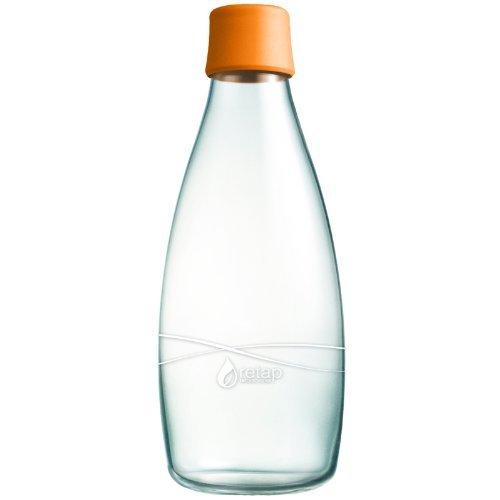 Retap Borosilicate Glass Water Bottle, 27-Ounce, Orange