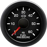 EV² Fuel Pressure 0-60 - R17077 Full Kit, Black Face, Red Pointer, Green Backlight, Black Bezel, Black Hub