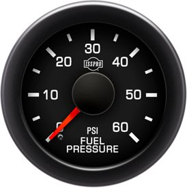 EV² Fuel Pressure 0-60 - R17077 Full Kit, Black Face, Red Pointer, Green Backlight, Black Bezel, Black Hub by ISSPRO