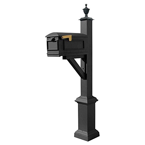 (Qualarc WPD-SB1-S5-LMC-BL Westhaven Cast Aluminum Post Mount System with Lewiston Mailbox, Square Base and Urn Finial, Ships in 2 Boxes, Black)