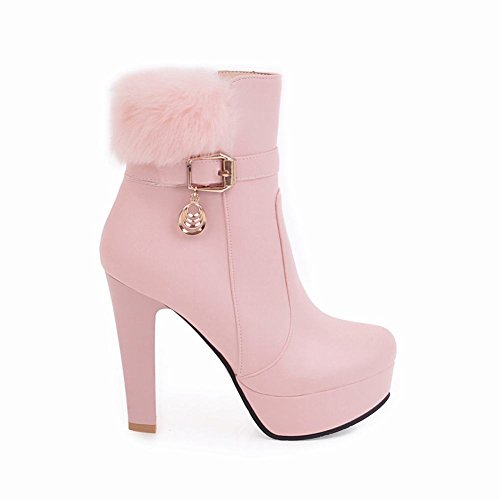 Mee Shoes Women's Charm Faux Fur High Heel Platform Zip Short Boots Pink sSDsr0UIXl