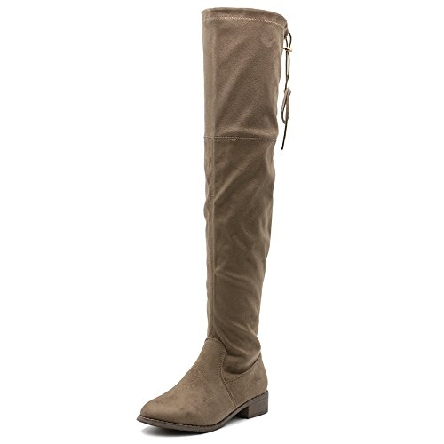 Ollio Women Shoe Drawstring Stretch Faux Suede Faux Leather Over The Knee Zip up Long Boots Taupe-suede