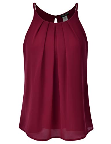 EIMIN Women's Crewneck Pleated Front Double Layered Chiffon Cami Tank Top Burgundy ()