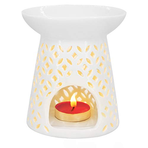 Ivenf Coin Shape Ceramic Tea Light Holder/Wax Melt Warmer, Aromatherapy Essential Oil Burner, Great Decoration for Living Room, Balcony, Patio, Porch & Garden