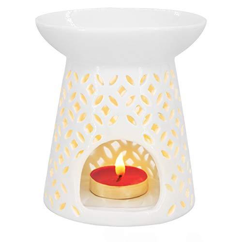 Essential Burner - Ivenf Coin Shape Ceramic Tea Light Holder/Wax Melt Warmer, Aromatherapy Essential Oil Burner, Great Decoration for Living Room, Balcony, Patio, Porch & Garden