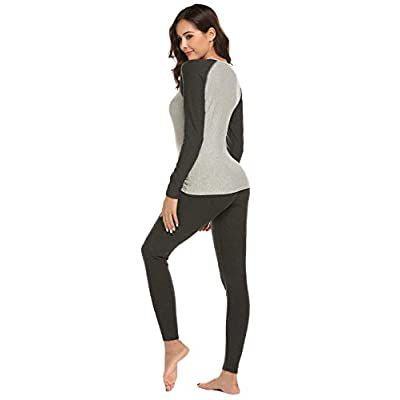 Ekouaer Women's Thermal Underwear Set Warm Long Johns Set Fleece Lined Base Layer Top & Bottom at Women's Clothing store
