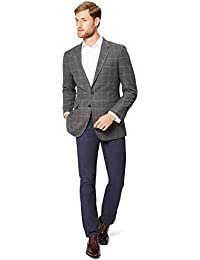 Men's Grey Brown Windowpane Jacket 48R