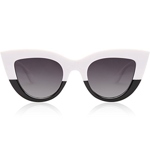 Halloween Inspired Names (SOJOS Retro Vintage Cateye Sunglasses for Women Plastic Frame Mirrored Lens SJ2939 with White&Black Frame/Grey)