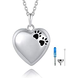 BEILIN Pet Paw Print Cremation Jewelry S925 Sterling Silver Keepsake Memorial Urn Necklace for Ashes w/Funnel Filler Kit (Heart)