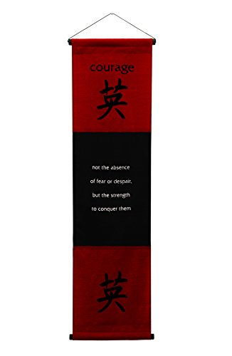 - G6 Collection Inspirational Wall Decor Courage Banner Large, Inspiring Quote Wall Hanging Scroll, Affirmation Motivational Uplifting Message Decoration, Thought Saying Tapestry Courage (Red Burgundy)