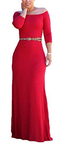 Allonly Femmes Sexy Une Ligne De L'épaule 3/4 Sleeeve Haute Robe De Cocktail Rouge Taille Longue Robe De Soirée