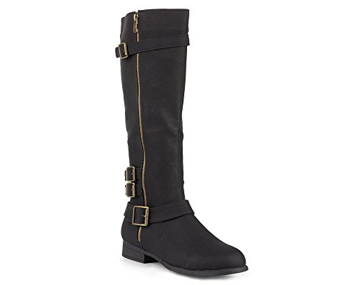 Twisted Women's Noah Knee High Faux Leather Boots with Buckle Straps