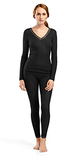 Hanro Women's Woolen Lace Long Sleeve Shirt, Black, Small by HANRO