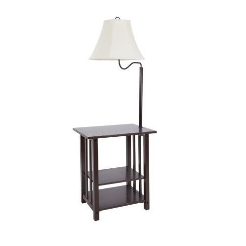Combination Floor Lamp End Table With Shelves And Swing Arm Shade Use As A Nightstand Or