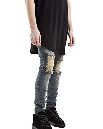 Fit Especial Moto Uomo Skinny Di Jeggings Vintage Casual Tendenza Bronze Pantaloni Slim Estilo Da Jeans Dritti xvq4TT