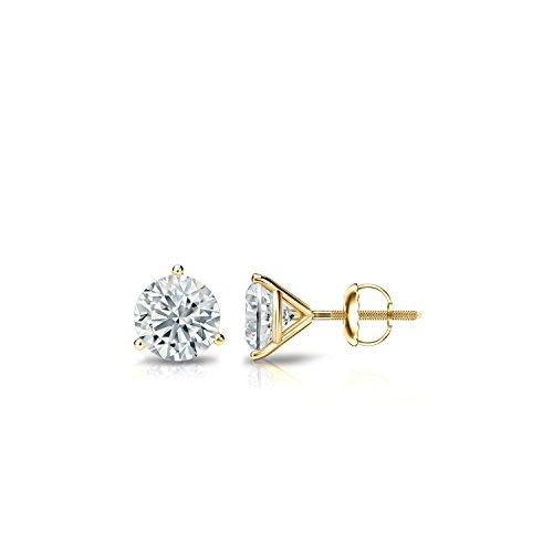 Diamond Wish 14k Yellow Gold Round Diamond Stud Earrings (1/3ct TW, J-K, I1-I2) 3-Prong Martini, Screw-Back