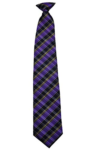 Covona Men's Purple/Black/Yellow Checked Tie (CLIP-ON) (Tie Covona)