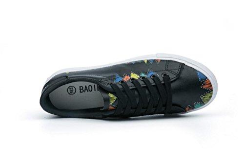 Pelle Bianco Studenti Tempo Shoes Lady Quattro Subacquei Scuola Bottoni Black Stagioni Casual Pu Movimento Stampa Scarpe Nvxie In Libero Nero TRXBqwZwx