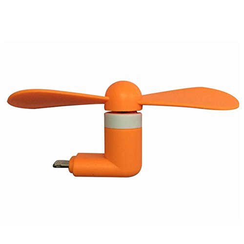 (Mini USB Fan, fengus Portable Cooling USB Mini Phone Fan Device Soft Blades with Safety for Apple iPhone 7,7plus, 6, 6s, 6plus, 5s, 5,SE iPad,iPad Air, New iPad, iPod Touch (Orange))