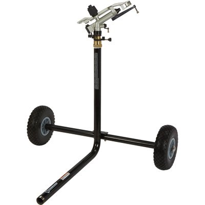 Strongway Wheeled Sprinkler – 1 1/4in. Brass Sprinkler Head with 5 Nozzles, 10in. Flat-Free Tires