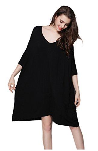 Hycurey Women T-Shirt Dress Scoop Neck Dress Plus Size Loose Sleepwear Half Sleeve Nightwear (Plus Sized Sleepwear)